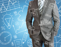 Businessman and business sketches Royalty Free Stock Image