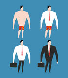 Businessman in  business suit and briefcase. Set man in clothes. And naked. rustler in shorts Royalty Free Stock Photography