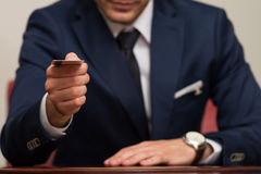 Businessman In Business Suit Pay By Credit Card Royalty Free Stock Image