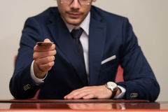 Businessman In Business Suit Pay By Credit Card Royalty Free Stock Photo