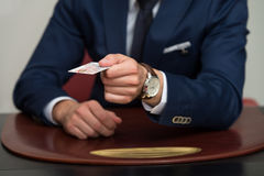 Businessman In Business Suit Pay By Credit Card Royalty Free Stock Photography