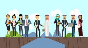 Businessman in business suit shaking hands arabic man traditional clothes over chasm between mountains, mix race full. Length business agreement and partnership vector illustration