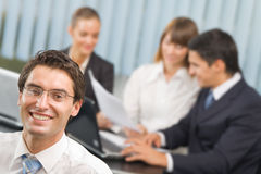 Businessman and business team Royalty Free Stock Image