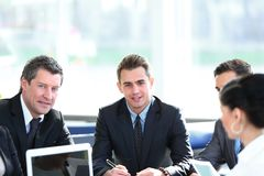 Businessman and business team working with documents Royalty Free Stock Photography