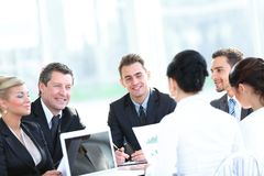 Businessman and business team working with documents Royalty Free Stock Photo