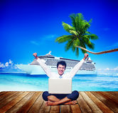 Businessman Business Travel Beach Working Success Concept Stock Photography