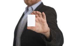 Businessman with business white card Royalty Free Stock Photo