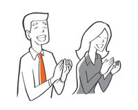 A businessman and business woman clapping hand in meeting room, stock illustration