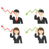Businessman and business woman drawing arrow Royalty Free Stock Photography
