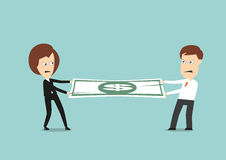 Businessman and business woman fights for money. Businessman and business woman fights over for money, pulling the dollar bill to opposite sides, for business Royalty Free Stock Photography