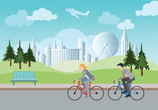Businessman and business woman going to work by bike. Businessman and business woman going to work by bike in public park,  concept save the world vector Royalty Free Stock Images