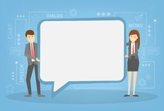 Businessman and business woman holding speech bubble vector illustration