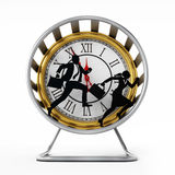 Businessman and business woman running in the hamster wheel. 3D illustration Stock Photo