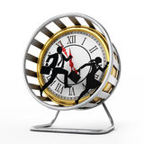 Businessman and business woman running in the hamster wheel. 3D illustration. Businessman and business woman silhouettes running in the hamster wheel. 3D Royalty Free Stock Images