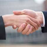 Businessman and business woman shaking hands Stock Photos