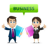 Businessman and business woman showing thumbs up Royalty Free Stock Photography