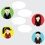 Businessman and Business woman. Are talking together. Can write your message in the copy space Stock Photos