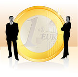 Businessman and businesswoman. Standing near the big Euro coin vector illustration