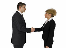 Businessman and businesswoman. Businessman and business woman welcome Royalty Free Stock Photos