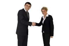 Businessman and businesswoman. Businessman and business woman welcome Royalty Free Stock Images