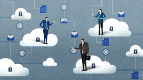 Businessman businesswoman with Access Cloud computing service.business illustration