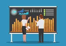 Businessman and businesswoman analysis business chart. Businessman and businesswoman analysis business chart on board. Business and financial data analysis Royalty Free Stock Images