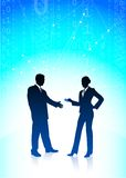 Businessman and businesswoman on blue internet Royalty Free Stock Photos
