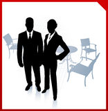 Businessman and businesswoman during break on red border backgro Stock Photography