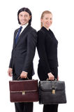 Businessman and businesswoman with briefcases Royalty Free Stock Images