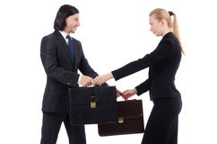 Businessman and businesswoman with briefcases Stock Photos