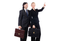 Businessman and businesswoman with briefcases Stock Photo