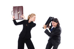 Businessman and businesswoman with briefcases Royalty Free Stock Image