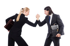 Businessman and businesswoman with briefcases Royalty Free Stock Photos