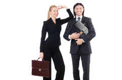 Businessman and businesswoman with briefcases Royalty Free Stock Photo
