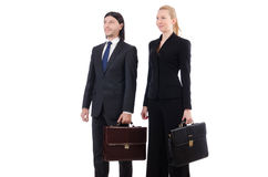 Businessman and businesswoman with briefcases Royalty Free Stock Photography