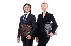 The businessman and businesswoman with briefcases Royalty Free Stock Photo