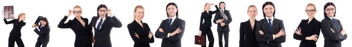 The businessman and businesswoman with briefcases isolated on white Stock Photos