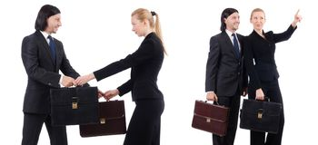 The businessman and businesswoman with briefcases isolated on white Royalty Free Stock Image