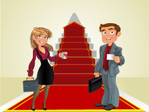 Businessman and businesswoman in the career ladder royalty free stock image