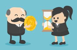 businessman and businesswoman are change a watch and a coin towards each other. vector illustration