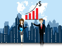 Businessman and businesswoman with city landscape Stock Photos