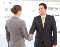 Businessman and businesswoman concluding a deal. Cheerful businessman and businesswoman concluding a deal by shaking hands Stock Image
