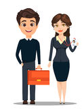 Businessman and businesswoman. Cute cartoon characters. Man with briefcase and woman showing her badge. Vector illustration Stock Image