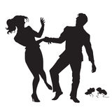 Businessman and businesswoman dancing black silhouette figure. Businessman and businesswoman dancing pop art retro vector. Black silhouette. Holiday party Royalty Free Stock Photos