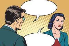 Businessman and businesswoman dialogue Stock Photos