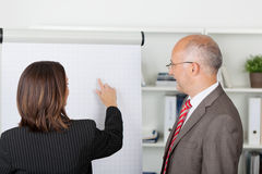 Businessman And Businesswoman Discussing Over Flipchart Royalty Free Stock Image