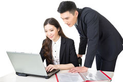 Businessman and businesswoman discussion Stock Image