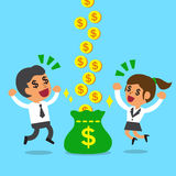 Businessman and businesswoman earning money together Stock Photography