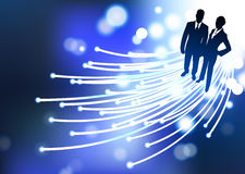 Businessman and businesswoman fiber optic internet Stock Images