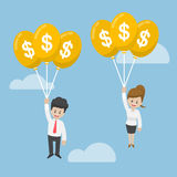 Businessman and Businesswoman Flying with Dollar Balloon. Financial Concept Stock Image